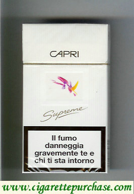 Discount Capri Supreme slim 100s cigarette hard box