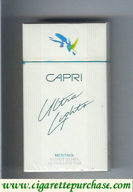 Discount Capri Ultra Lights Menthol 100s cigarettes hard box