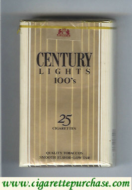Discount Century Lights 100s 25 cigarettes Quality Tobaccos