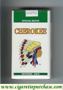 Discount Cherokee Menthol 100s cigarettes Special Blend