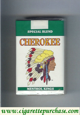 Cherokee Menthol kings cigarettes Special Blend