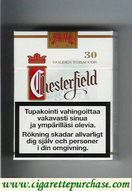 Discount Chesterfield cigarettes 30 full flavor Golden Tobaccos