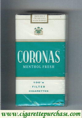 Discount Coronas 100s Menthol Fresh filter cigarettes