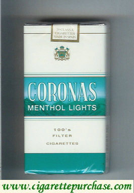 Discount Coronas 100s Menthol Lights filter cigarettes