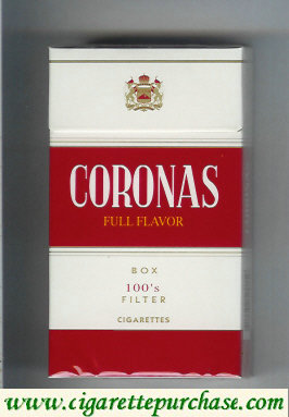Discount Coronas 100s box cigarettes Full Flavor filter