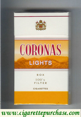 Discount Coronas Lights 100s box filter cigarettes