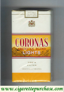 Discount Coronas Lights 1OOs cigarettes American Blend