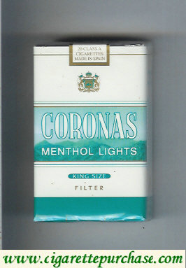 Discount Coronas Menthol Lights cigarettes king size filter