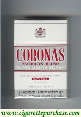 Coronas Ultra Lights Silver cigarettes American Blend