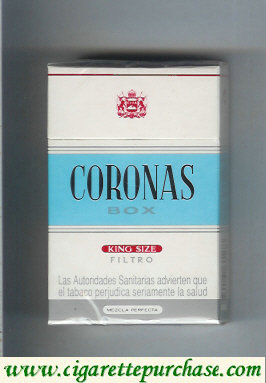 Discount Coronas box king size filtro cigarettes