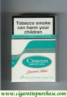 Discount Craven Menthol Special Mild cigarettes