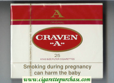 Craven A 25 king size filter cigarettes