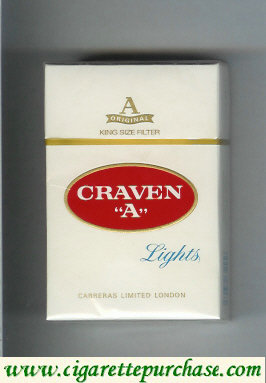 Craven A Lights cigarettes king size filter