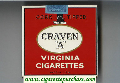 Craven A Virginia Cigarettes Cork Tipped