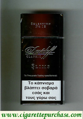 Discount Davidoff Selection No 12 Classic Slims 100s cigarettes hard box