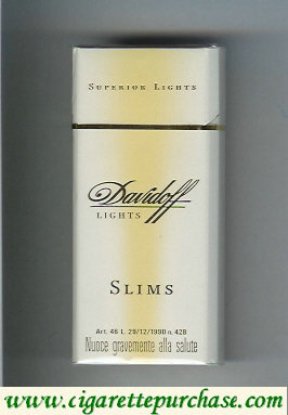 Discount Davidoff Lights Superior Lights Slims 100s cigarettes hard box