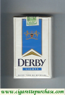Discount Derby Lights white and blue cigarettes soft box