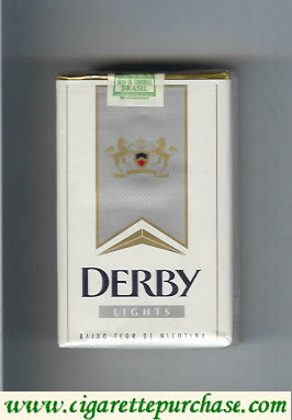 Discount Derby Lights white and grey cigarettes soft box