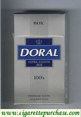 Discount Doral Premium Taste Guaranteed Ultra Lights 100s cigarettes hard box