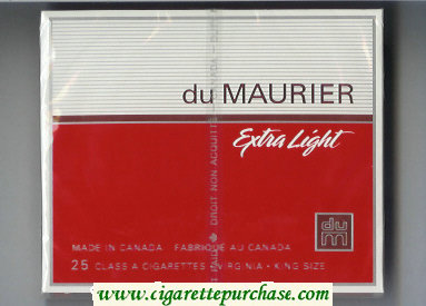 Discount Du Maurier Extra Light 25s cigarettes wide flat hard box