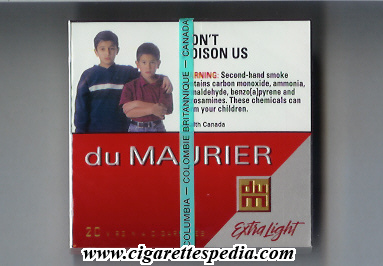 Discount Du Maurier Extra Light cigarettes wide flat hard box