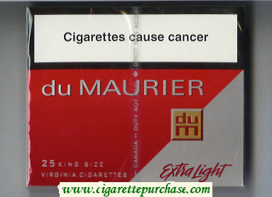 Discount Du Maurier Extra Light 25s King Size cigarettes wide flat hard box