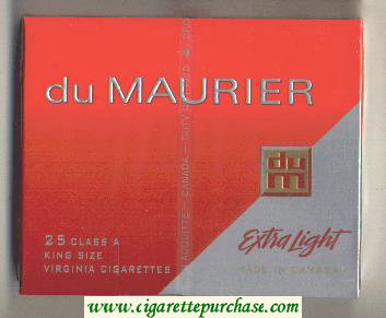 Discount Du Maurier Extra Light 25s Class A King Size cigarettes wide flat hard box