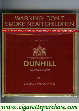 Discount Dunhill Filter De Luxe International 20 100s cigarettes wide flat hard box
