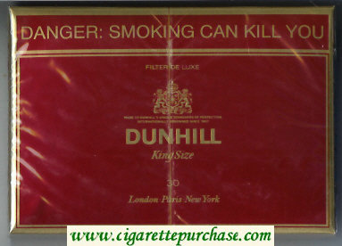 Discount Dunhill Filter De Luxe King Size 30 cigarettes wide flat hard box