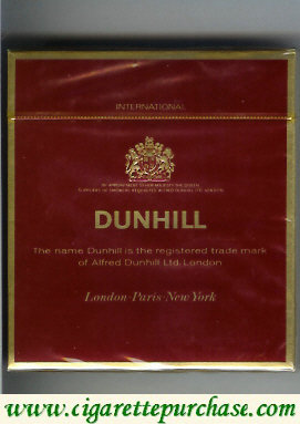 Discount Dunhill International 100s cigarettes wide flat hard box