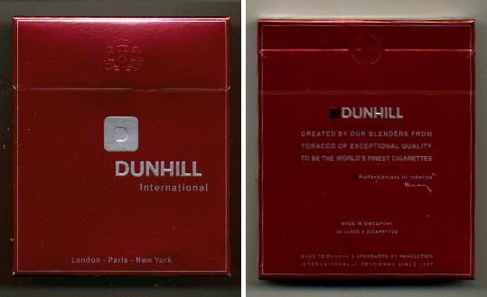 Discount Dunhill International D 100s cigarettes wide flat hard box