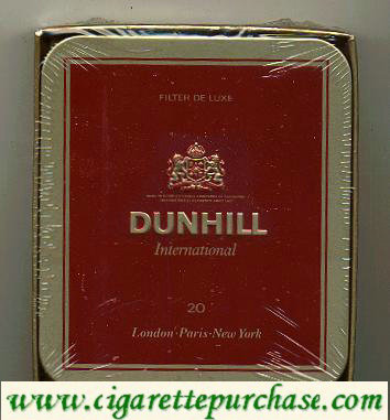Discount Dunhill International Filter De Luxe 20 100s cigarettes Metal box