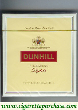 Discount Dunhill International Lights 100s cigarettes wide flat hard box