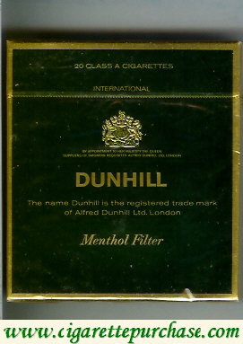 Discount Dunhill International Menthol Filter 100s cigarettes wide flat hard box