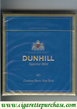 Discount Dunhill International Superior Mild 20 Blue 100s cigarettes wide flat hard box