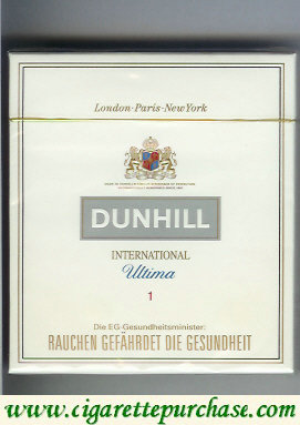 Discount Dunhill International Ultima 1 100s cigarettes wide flat hard box