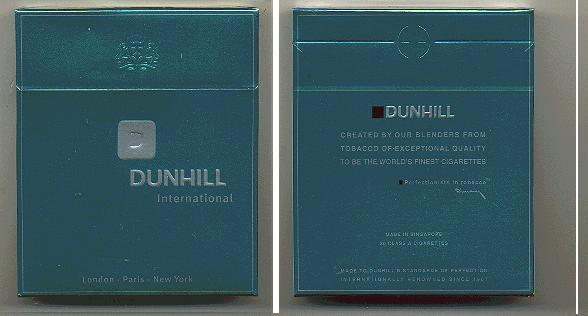 Discount Dunhill International green 100s cigarettes wide flat hard box