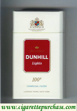 Discount Dunhill Lights Charcoal Filter 100s white and red cigarettes hard box