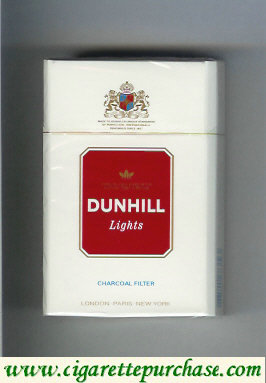 Discount Dunhill Lights Charcoal Filter white and red cigarettes hard box