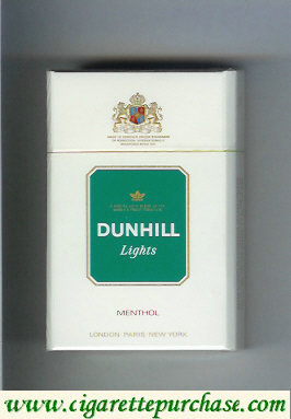 Discount Dunhill Lights Menthol white and green cigarettes hard box