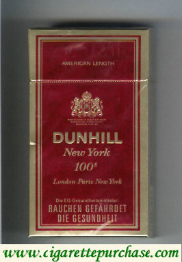 Discount Dunhill New York 100s cigarettes hard box