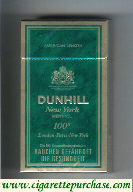 Discount Dunhill New York Menthol 100s cigarettes hard box