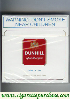 Discount Dunhill Special Lights Filter De Luxe 30 white and red cigarettes hard box