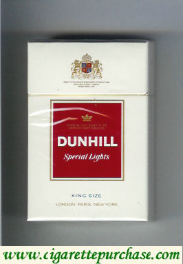 Discount Dunhill Special Lights white and red cigarettes hard box
