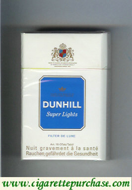 Discount Dunhill Super Lights Filter De Luxe white and blue cigarettes hard box