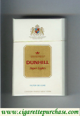 Discount Dunhill Super Lights Filter De Luxe white and gold cigarettes hard box