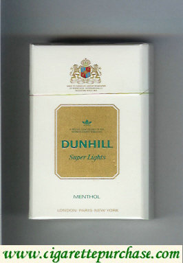 Discount Dunhill Super Lights Menthol white and gold cigarettes hard box
