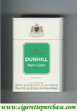 Discount Dunhill Super Lights Menthol white and green cigarettes hard box