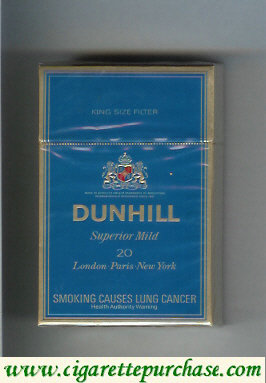 Discount Dunhill Superior Mild 20 blue cigarettes hard box
