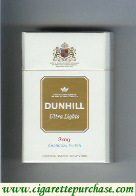 Discount Dunhill Ultra Lights 3 mg Charcoal Filter white and gold cigarettes hard box